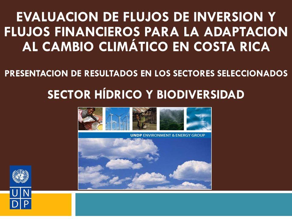 EVALUACION DE FLUJOS DE INVERSION Y FLUJOS FINANCIEROS PARA LA ADAPTACION AL CAMBIO CLIMÁTICO EN COSTA RICA PRESENTACION DE RESULTADOS EN LOS SECTORES SELECCIONADOS SECTOR HÍDRICO Y BIODIVERSIDAD