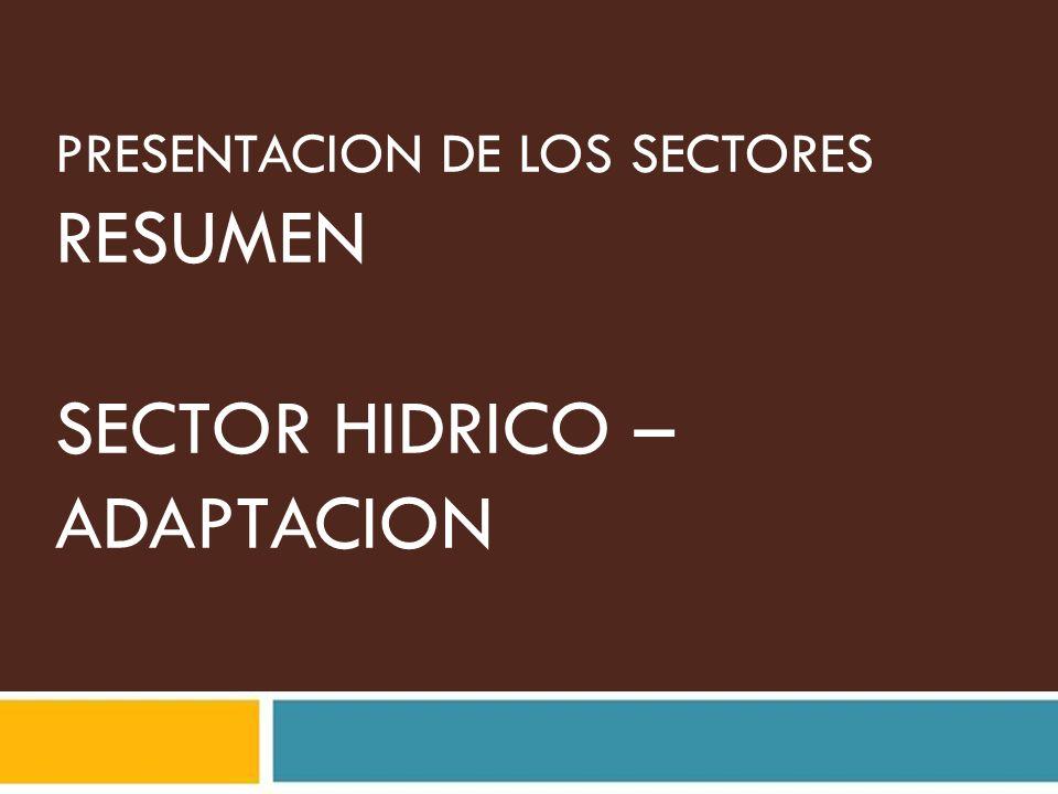 PRESENTACION DE LOS SECTORES RESUMEN SECTOR HIDRICO – ADAPTACION