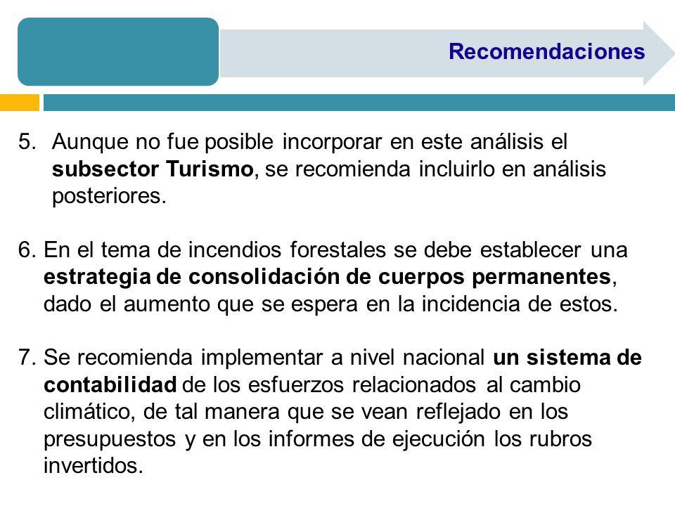 RecomendacionesAunque no fue posible incorporar en este análisis el subsector Turismo, se recomienda incluirlo en análisis posteriores.