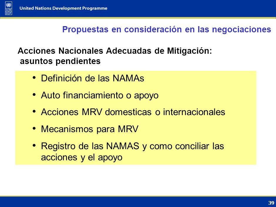 Definición de las NAMAs Auto financiamiento o apoyo