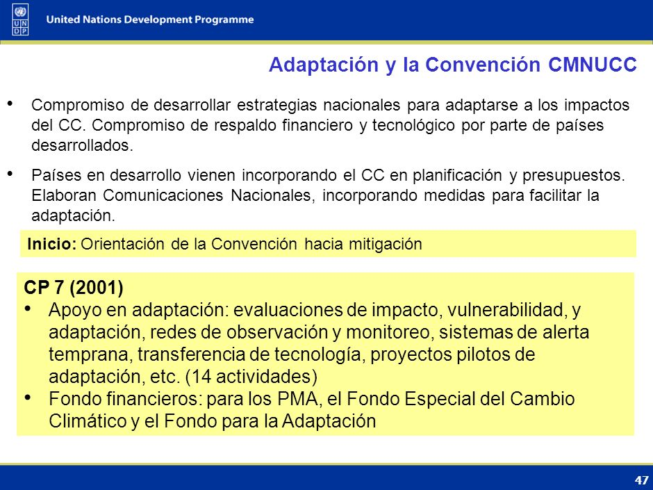 Adaptación y la Convención CMNUCC