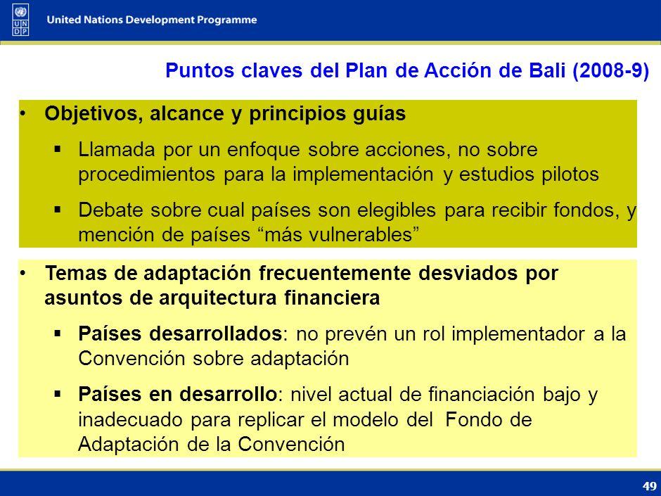 Puntos claves del Plan de Acción de Bali (2008-9)