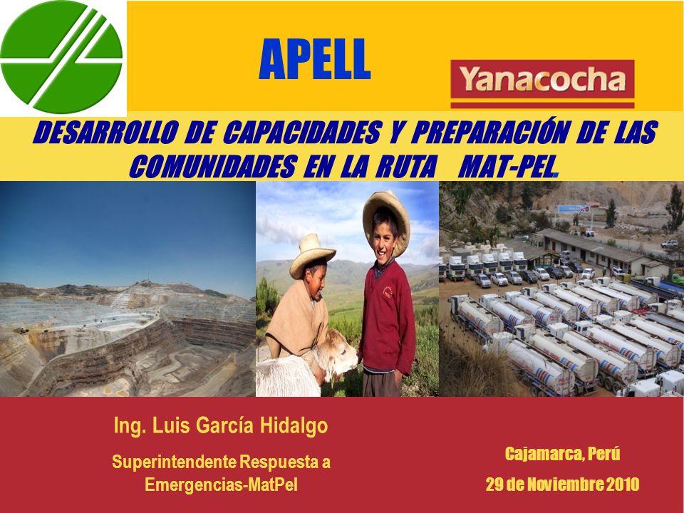 APELL DESARROLLO DE CAPACIDADES Y PREPARACIÓN DE LAS COMUNIDADES EN LA RUTA MAT-PEL. Ing. Luis García Hidalgo.