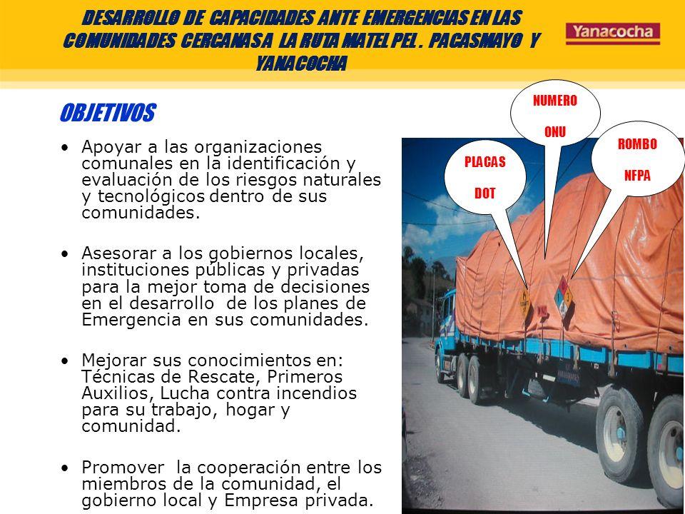 DESARROLLO DE CAPACIDADES ANTE EMERGENCIAS EN LAS COMUNIDADES CERCANAS A LA RUTA MATEL PEL . PACASMAYO Y YANACOCHA