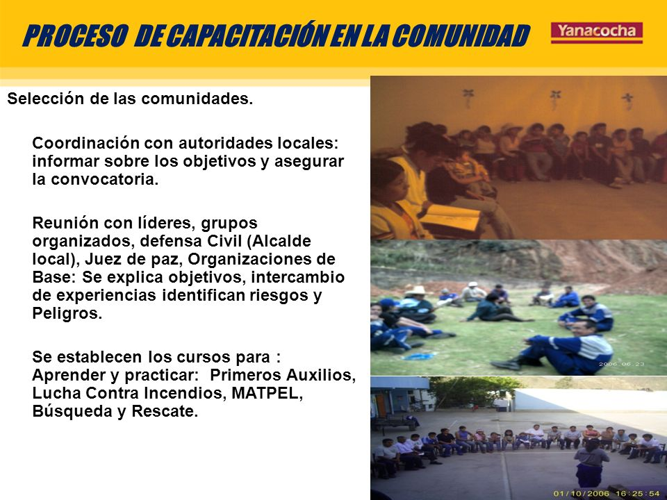 PROCESO DE CAPACITACIÓN EN LA COMUNIDAD