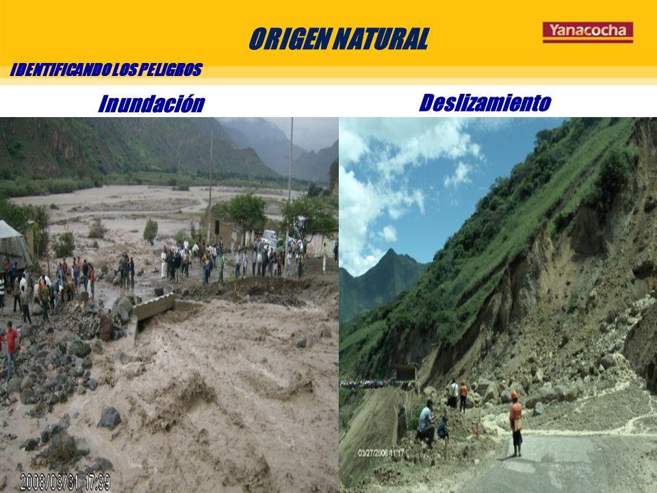 ORIGEN NATURAL IDENTIFICANDO LOS PELIGROS Inundación Deslizamiento