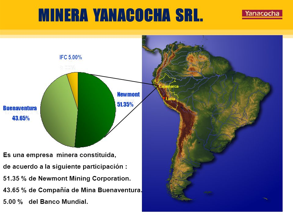 MINERA YANACOCHA SRL. Es una empresa minera constituida,