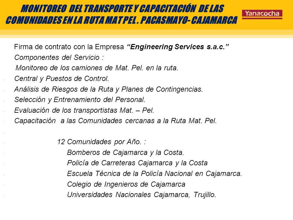 MONITOREO DEL TRANSPORTE Y CAPACITACIÓN DE LAS COMUNIDADES EN LA RUTA MAT PEL . PACASMAYO- CAJAMARCA