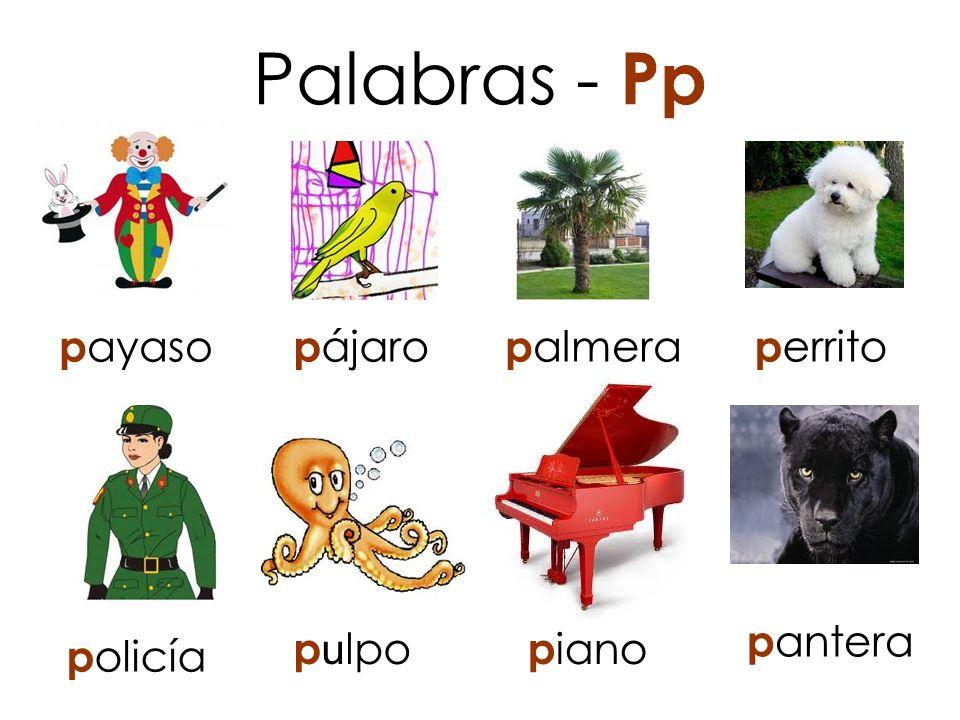 Palabras - Pp payaso pájaro palmera perrito pantera pulpo piano