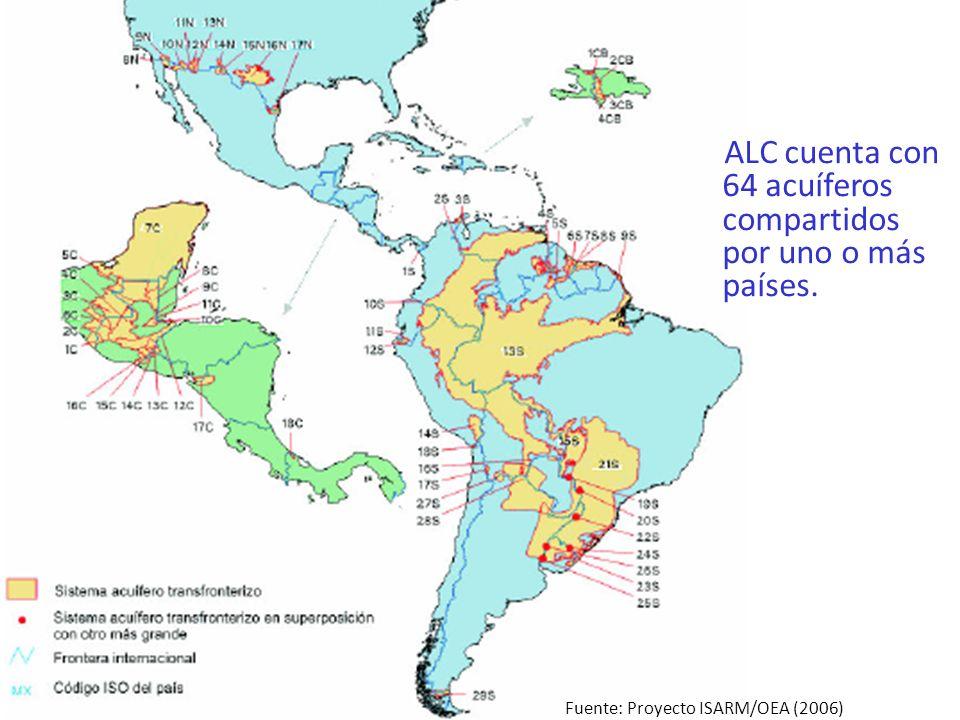 ALC cuenta con 64 acuíferos compartidos por uno o más países.