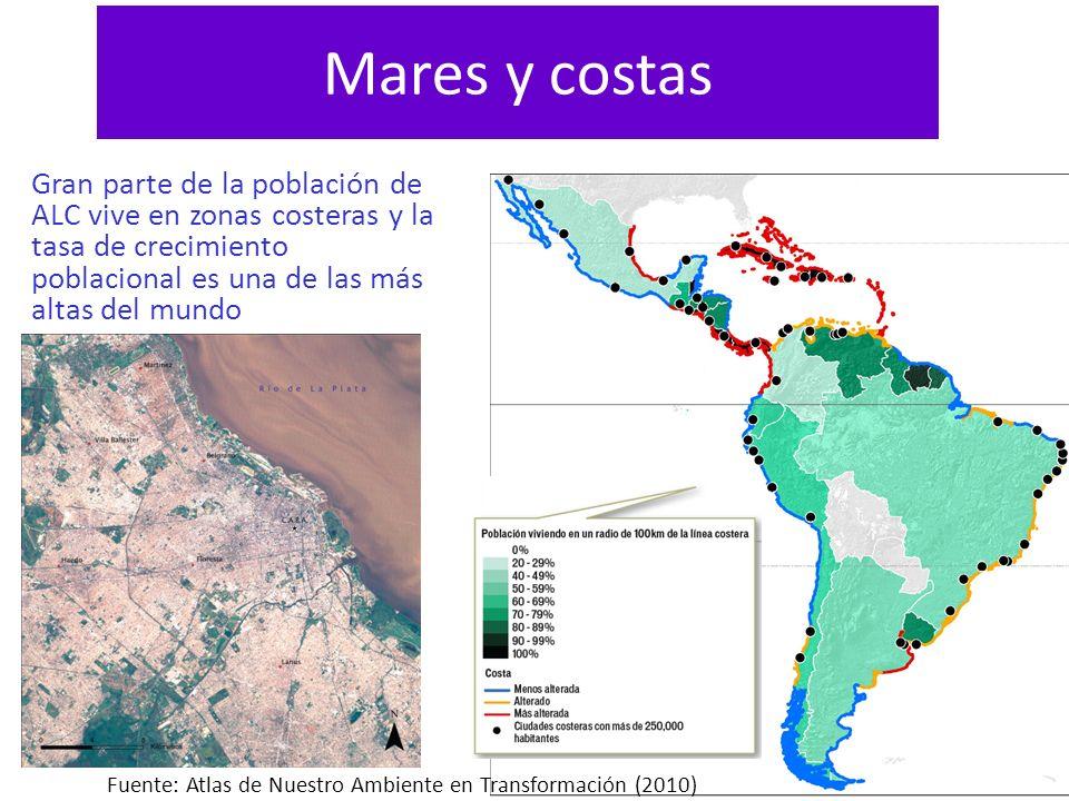 Mares y costas Gran parte de la población de ALC vive en zonas costeras y la tasa de crecimiento poblacional es una de las más altas del mundo.