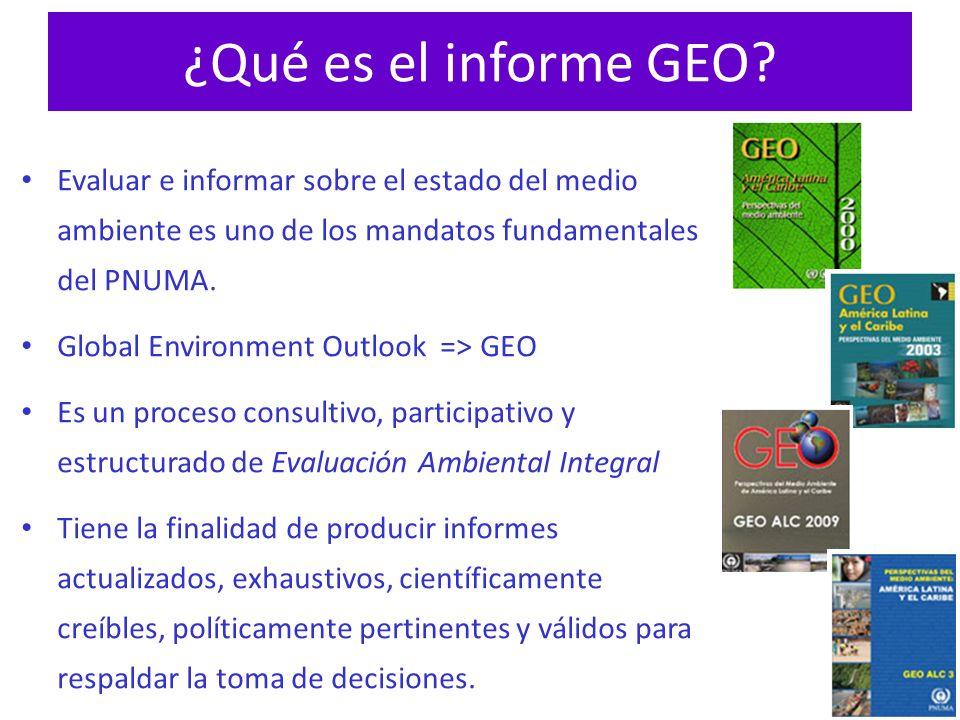 ¿Qué es el informe GEO Evaluar e informar sobre el estado del medio ambiente es uno de los mandatos fundamentales del PNUMA.