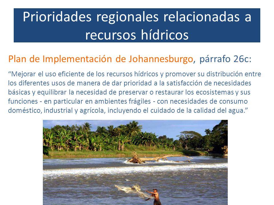 Prioridades regionales relacionadas a recursos hídricos