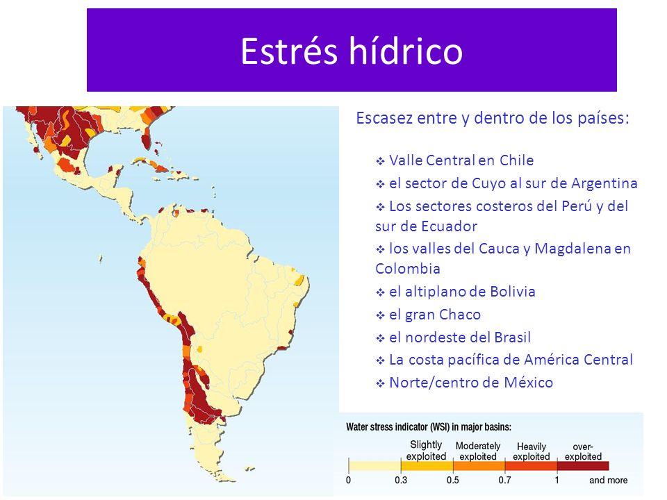 Estrés hídrico Escasez entre y dentro de los países: