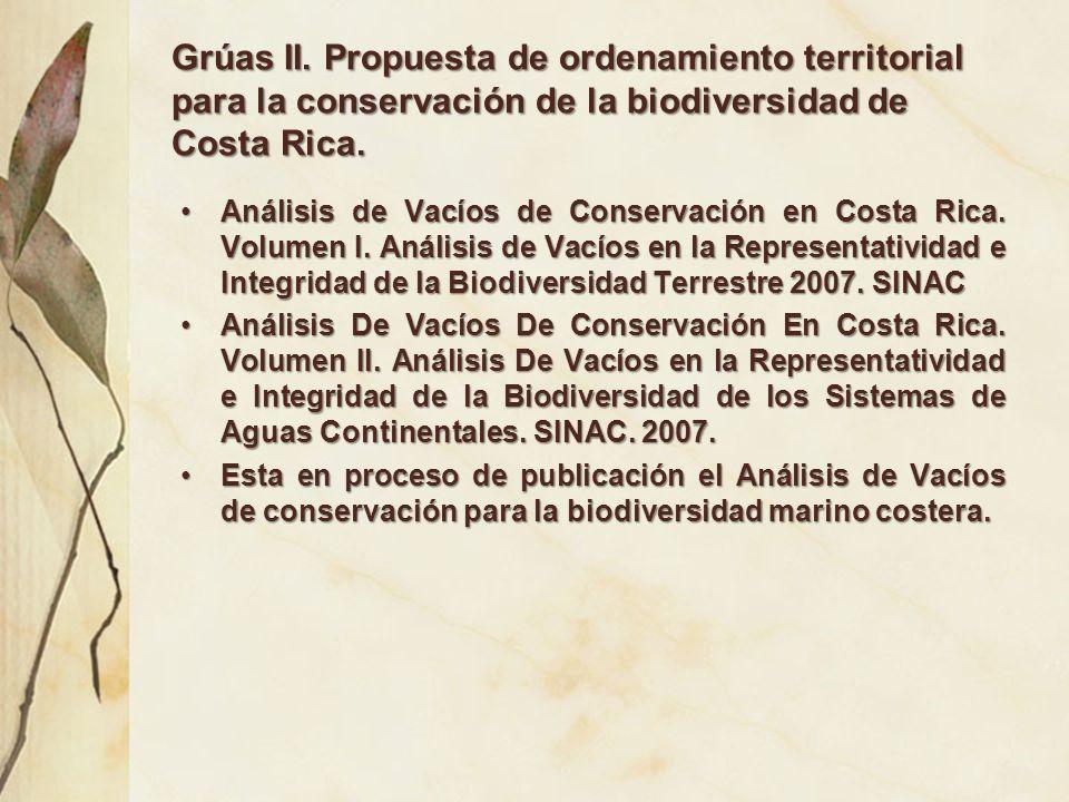 Grúas II. Propuesta de ordenamiento territorial para la conservación de la biodiversidad de Costa Rica.