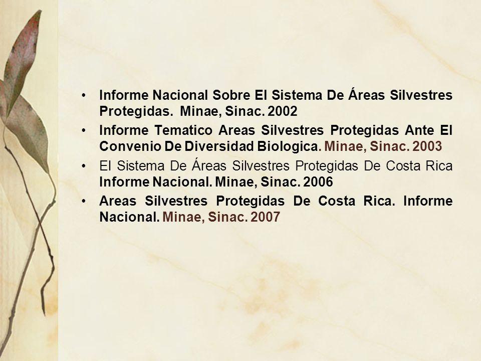 Informe Nacional Sobre El Sistema De Áreas Silvestres Protegidas