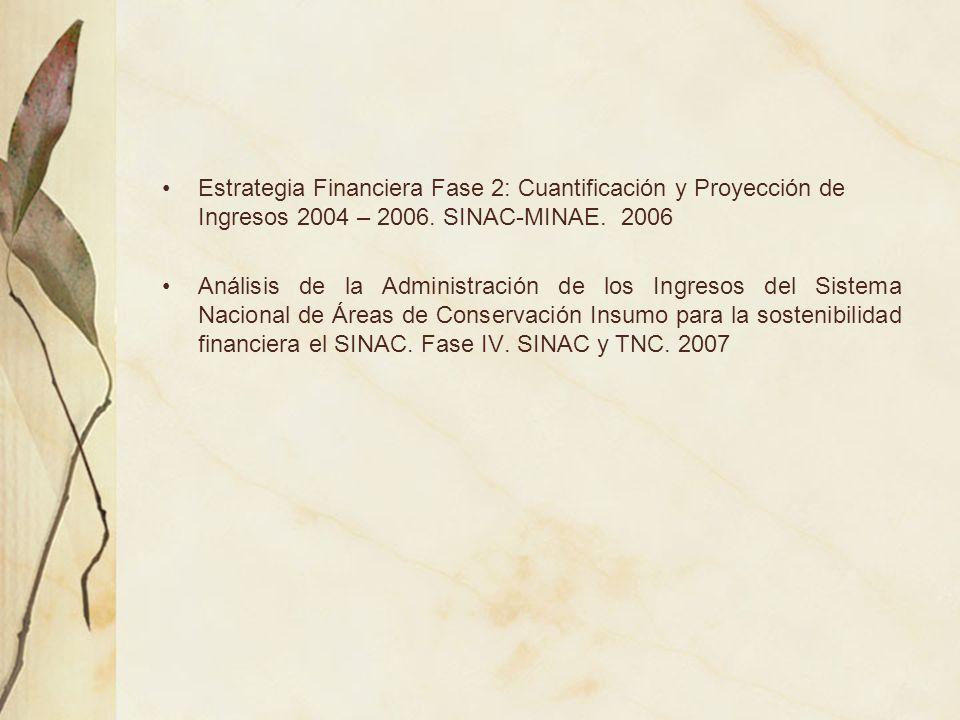 Estrategia Financiera Fase 2: Cuantificación y Proyección de Ingresos 2004 – 2006. SINAC-MINAE. 2006