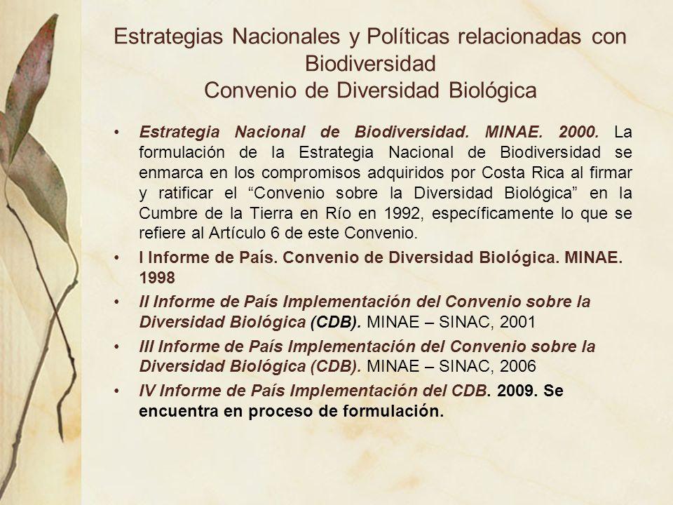 Estrategias Nacionales y Políticas relacionadas con Biodiversidad Convenio de Diversidad Biológica