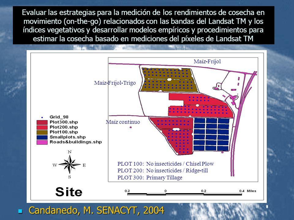 Evaluar las estrategias para la medición de los rendimientos de cosecha en movimiento (on-the-go) relacionados con las bandas del Landsat TM y los índices vegetativos y desarrollar modelos empíricos y procedimientos para estimar la cosecha basado en mediciones del píxeles de Landsat TM
