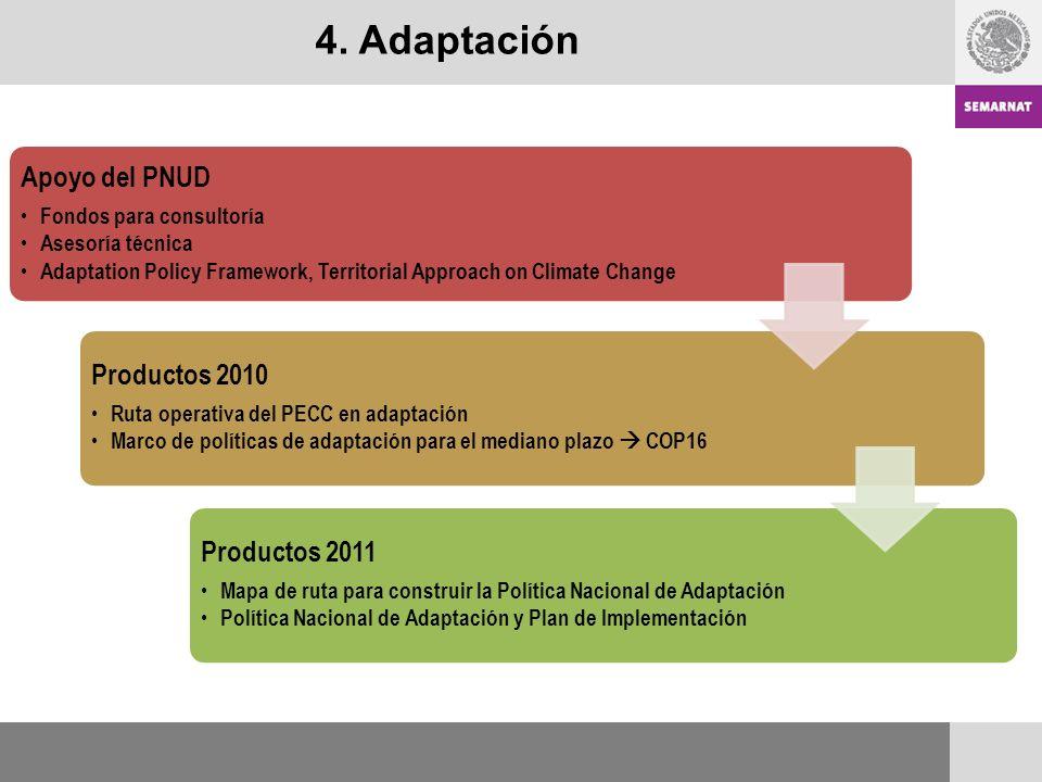 4. Adaptación Apoyo del PNUD Productos 2011 Productos 2010