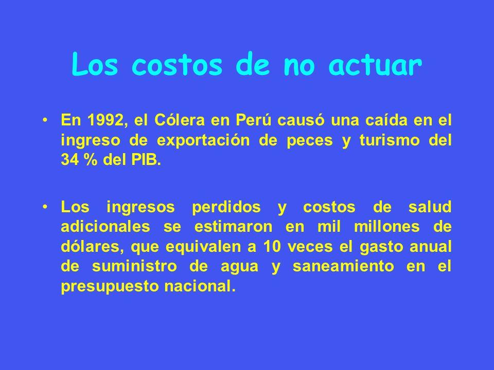 Los costos de no actuar En 1992, el Cólera en Perú causó una caída en el ingreso de exportación de peces y turismo del 34 % del PIB.