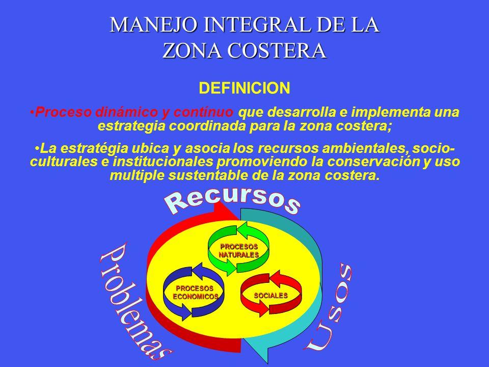 Recursos Problemas Usos MANEJO INTEGRAL DE LA ZONA COSTERA DEFINICION