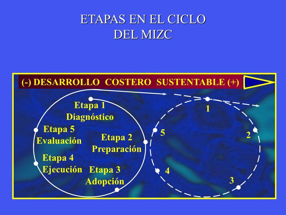 ETAPAS EN EL CICLO DEL MIZC (-) DESARROLLO COSTERO SUSTENTABLE (+)
