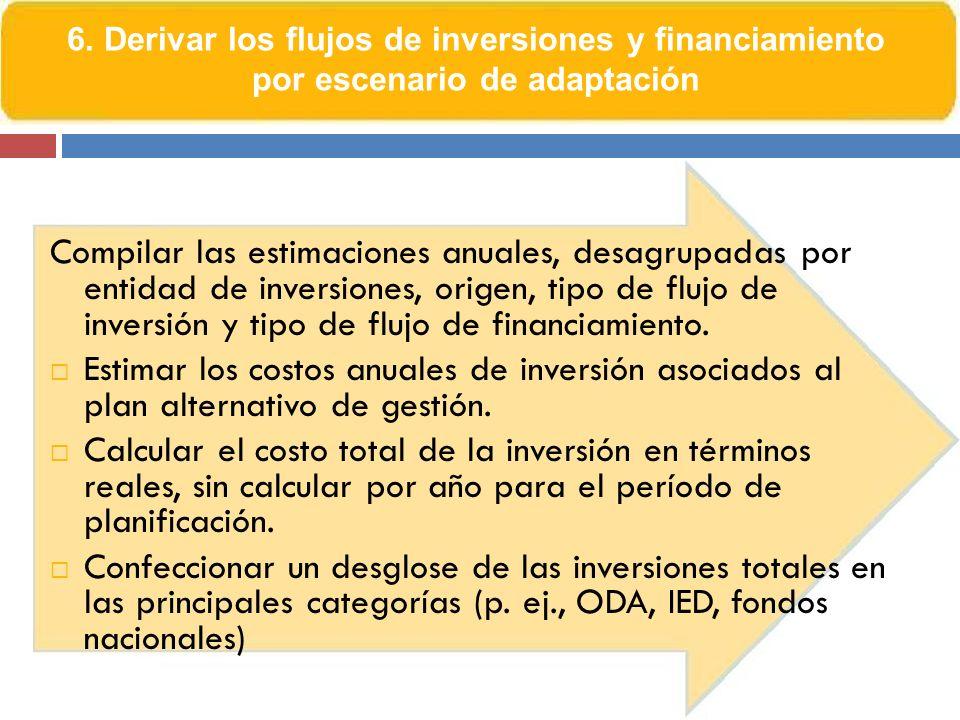 6. Derivar los flujos de inversiones y financiamiento por escenario de adaptación