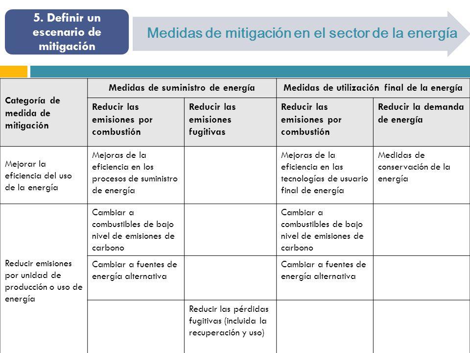 5. Definir un escenario de mitigación