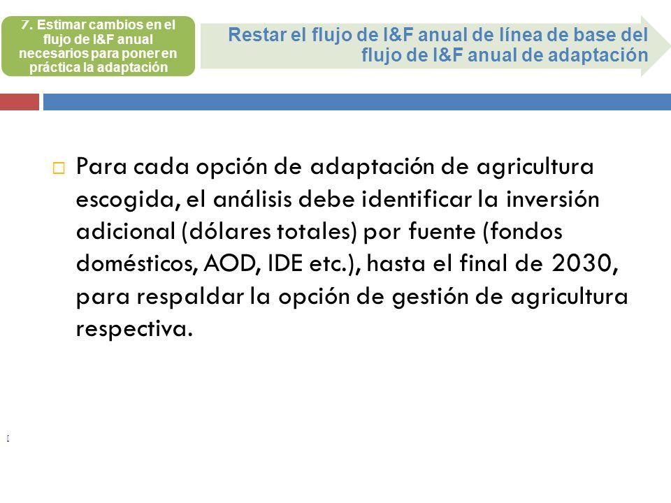 7. Estimar cambios en el flujo de I&F anual necesarios para poner en práctica la adaptación