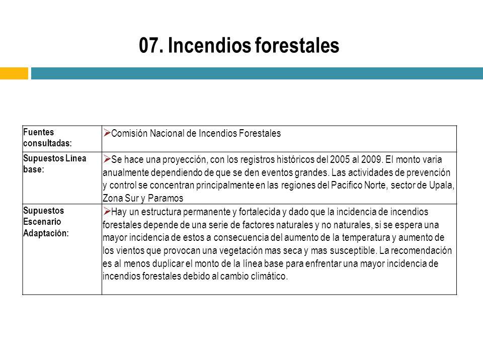 07. Incendios forestales Fuentes consultadas: Comisión Nacional de Incendios Forestales. Supuestos Línea base: