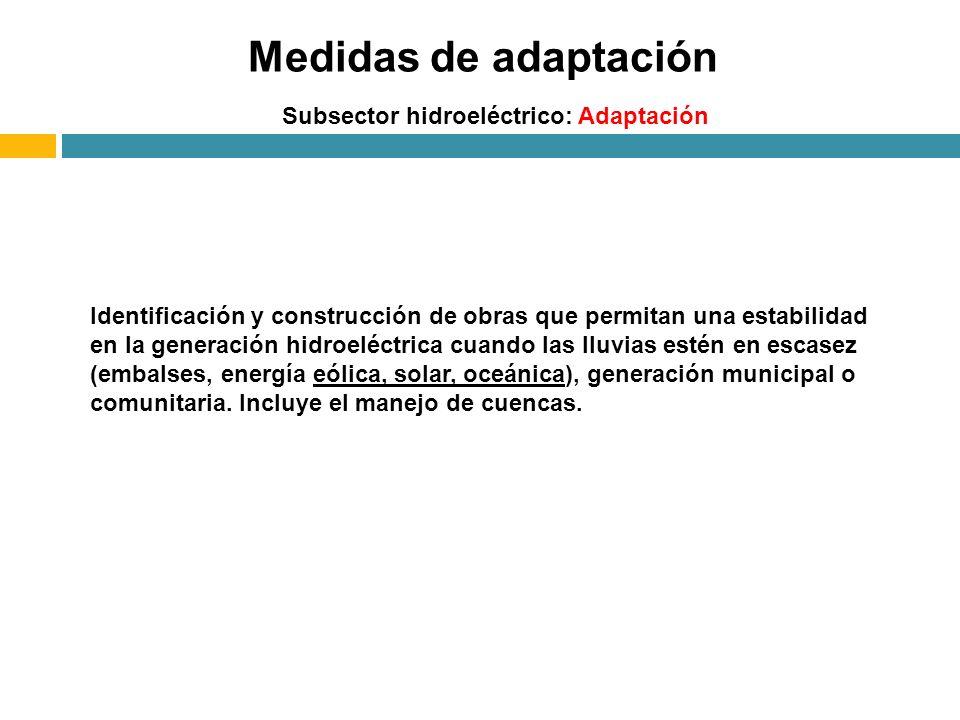 Medidas de adaptación Subsector hidroeléctrico: Adaptación