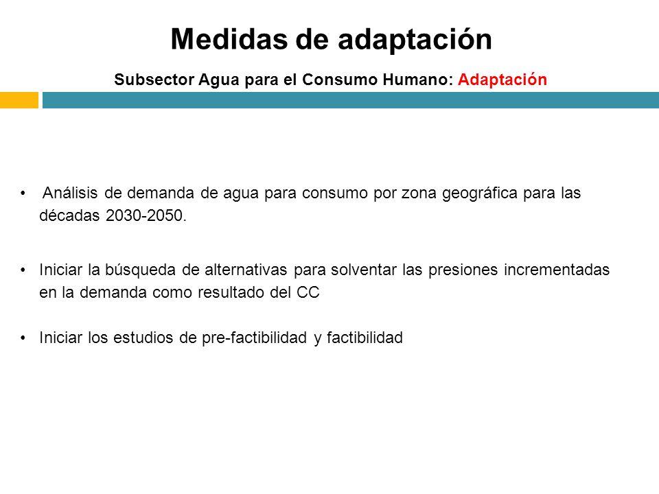 Medidas de adaptación Subsector Agua para el Consumo Humano: Adaptación.