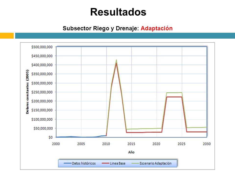 Resultados Subsector Riego y Drenaje: Adaptación
