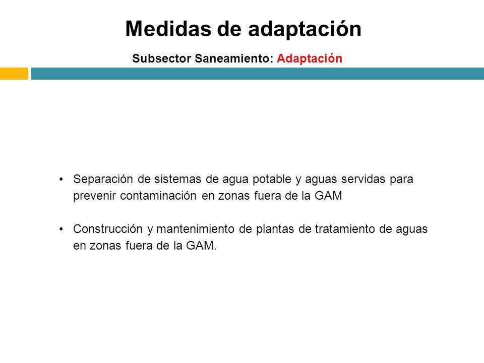Medidas de adaptación Subsector Saneamiento: Adaptación