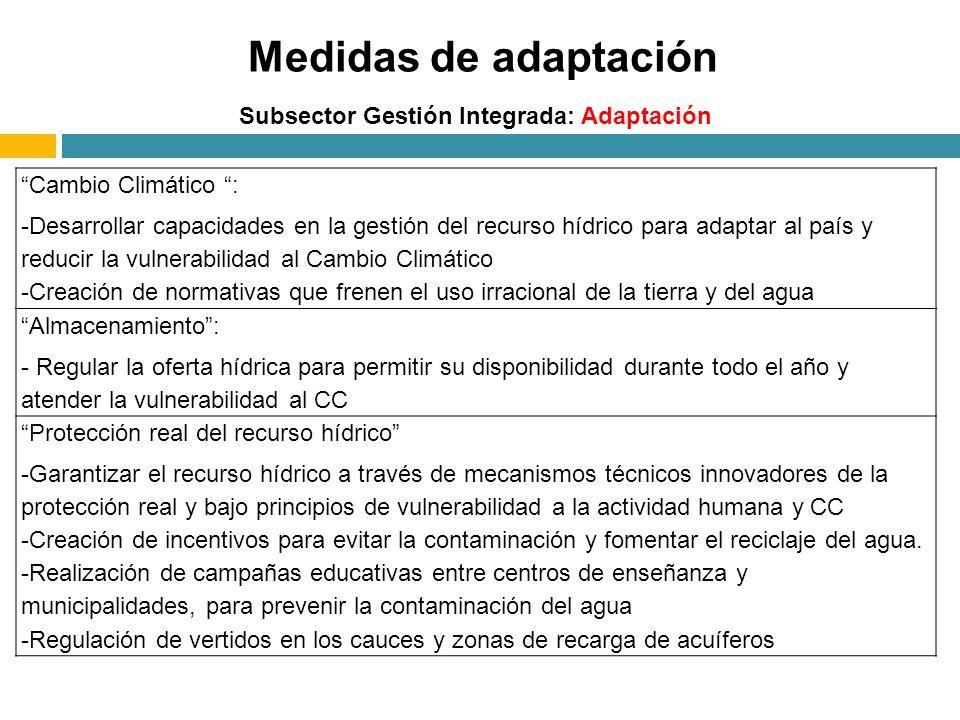Medidas de adaptación Cambio Climático :