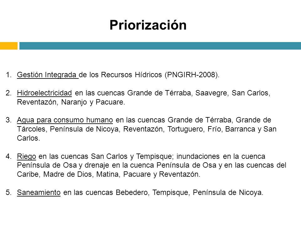 Priorización Gestión Integrada de los Recursos Hídricos (PNGIRH-2008).