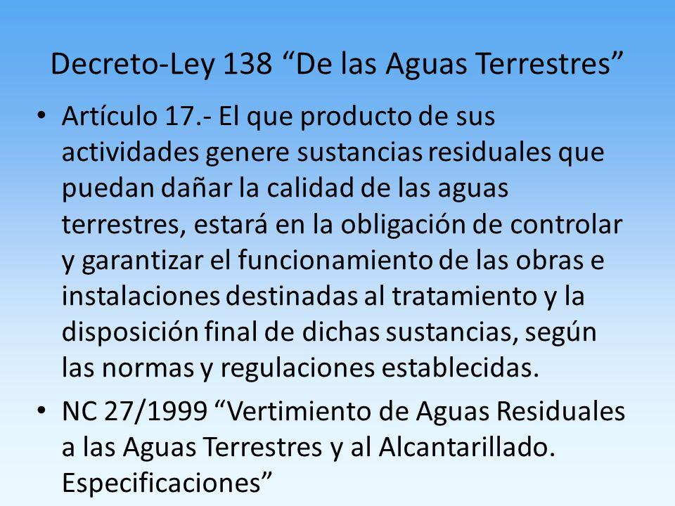 Decreto-Ley 138 De las Aguas Terrestres