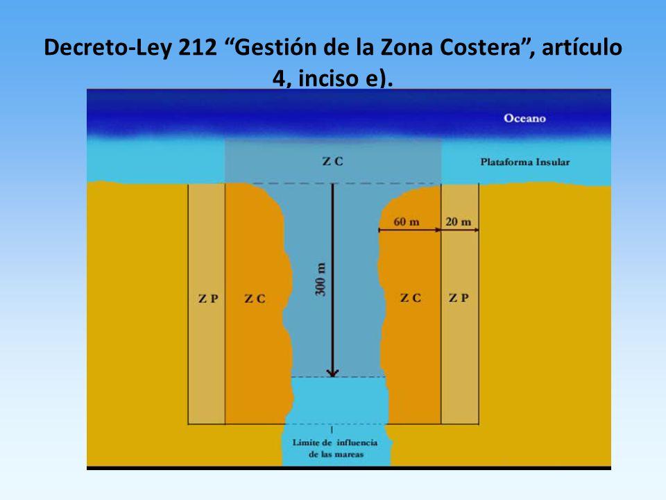 Decreto-Ley 212 Gestión de la Zona Costera , artículo 4, inciso e).