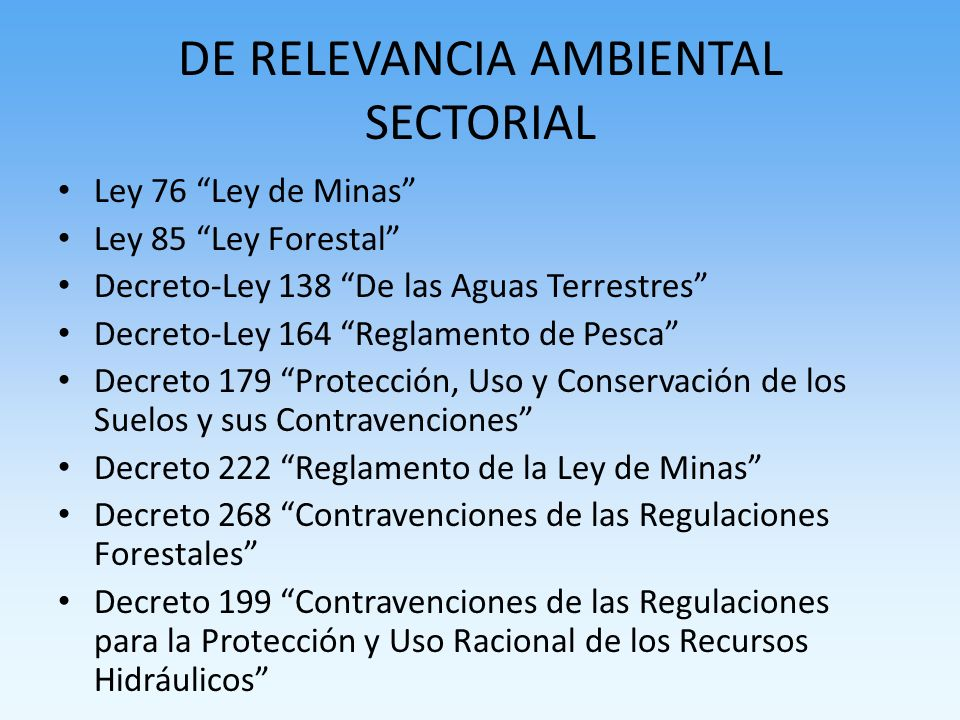 DE RELEVANCIA AMBIENTAL SECTORIAL