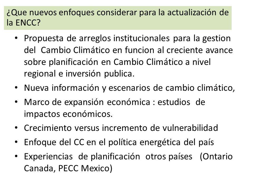 Nueva información y escenarios de cambio climático,