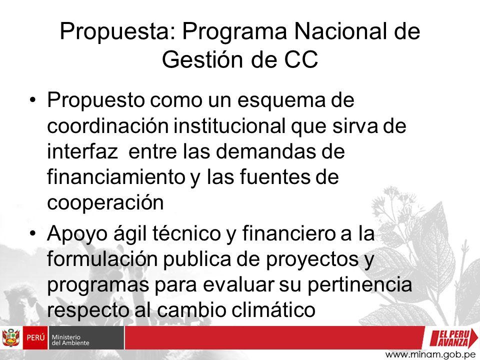 Propuesta: Programa Nacional de Gestión de CC