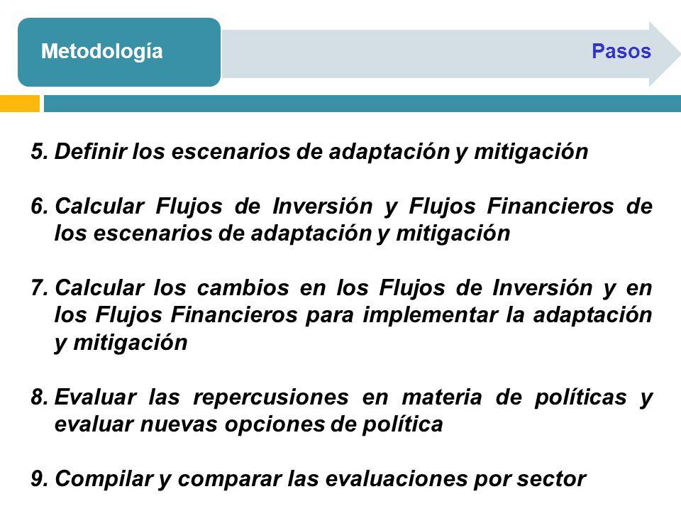 Definir los escenarios de adaptación y mitigación