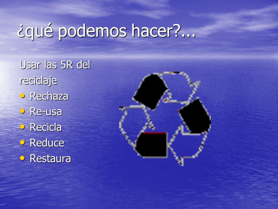 ¿qué podemos hacer ... Usar las 5R del reciclaje Rechaza Re-usa