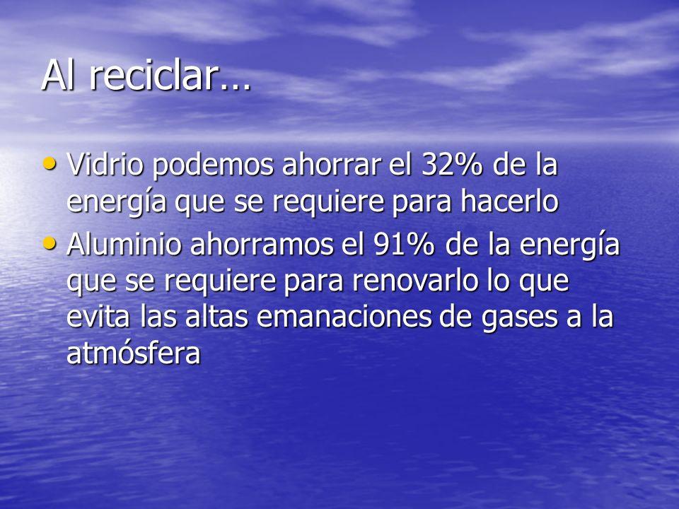 Al reciclar…Vidrio podemos ahorrar el 32% de la energía que se requiere para hacerlo.
