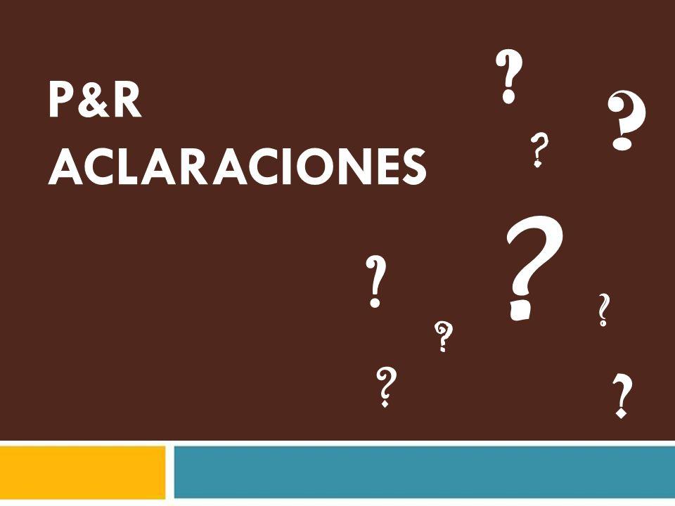 P&R ACLARACIONES 06/29/09 Para el presentador:
