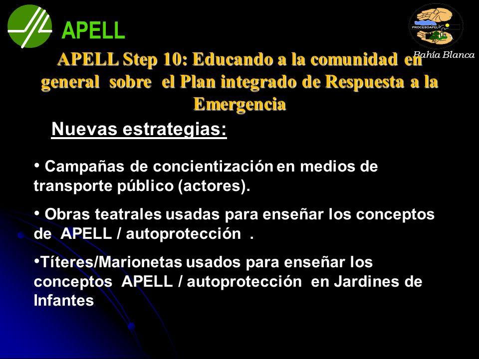 APELL Bahía Blanca. APELL Step 10: Educando a la comunidad en general sobre el Plan integrado de Respuesta a la Emergencia.