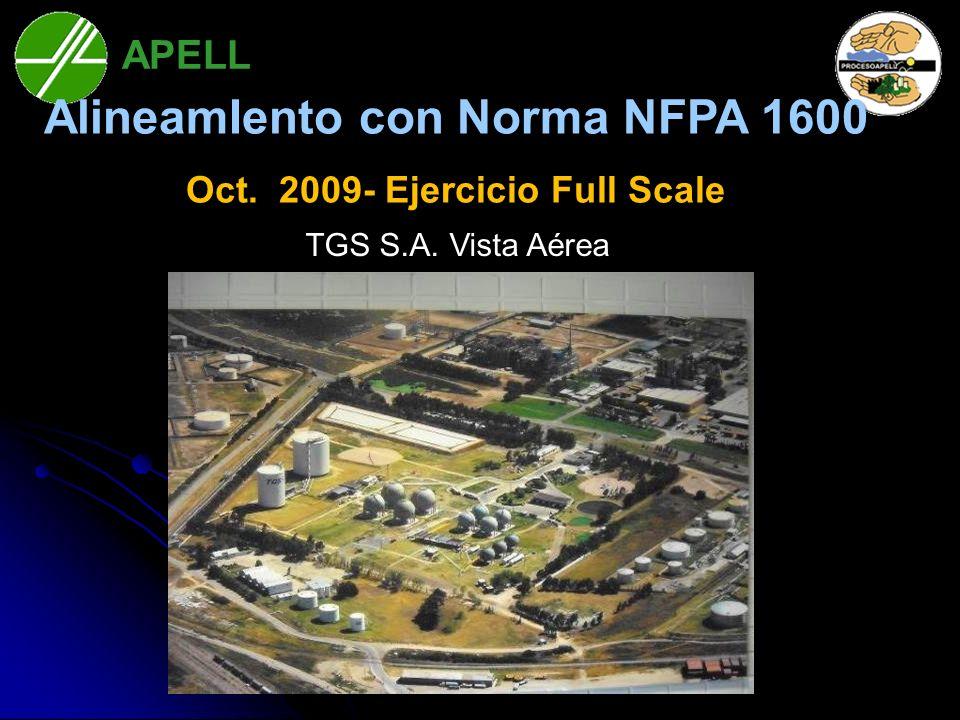 AlineamIento con Norma NFPA 1600 Oct. 2009- Ejercicio Full Scale