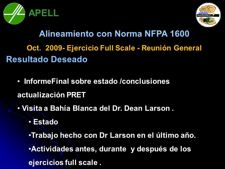 APELL Alineamiento con Norma NFPA 1600 Resultado Deseado