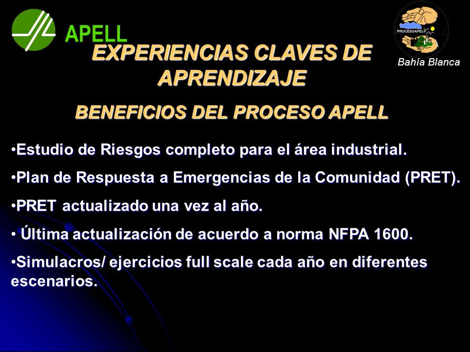 EXPERIENCIAS CLAVES DE APRENDIZAJE BENEFICIOS DEL PROCESO APELL